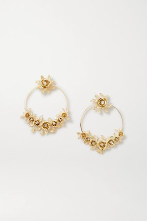 Rosantica | Lirica gold-tone crystal hoop earrings | NET-A-PORTER.COM