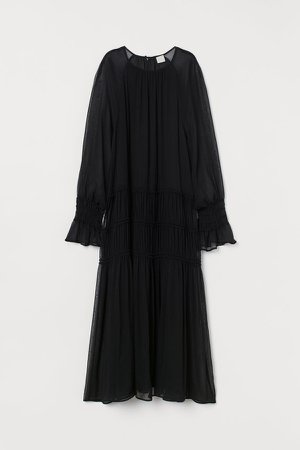 Creped Chiffon Dress - Black