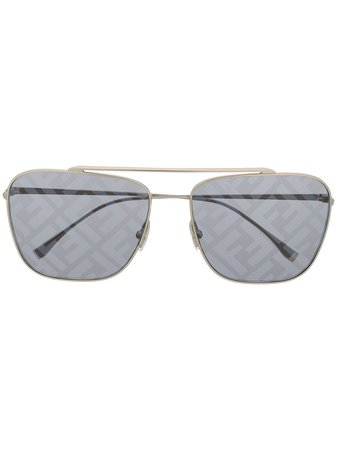 Fendi Eyewear Logo Lenses Aviator Sunglasses - Farfetch