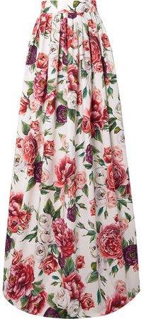 Floral-print Cotton-poplin Maxi Skirt - White
