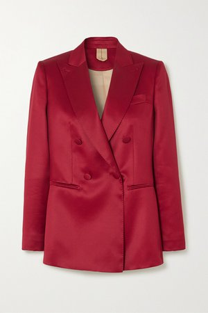 Red Renza double-breasted wool and silk-blend satin blazer | Max Mara | NET-A-PORTER