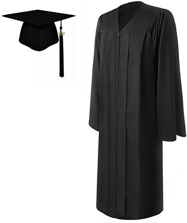 Amazon.com: lescapsgown Matte Graduation Gown Cap Tassel Set 2019, for Adult(Black 60): Clothing