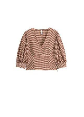 MANGO Gingham check blouse