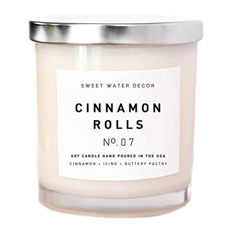 Amazon.com: Cinnamon Rolls Natural Soy Wax Candle White Jar Silver Lid Scented Cloves Vanilla Icing Buttery Pastry Food Fall Winter Christmas Lead and Gluten Free Cotton Wicks Country Rustic Decor Made in USA: Handmade