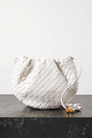 The Mini Bulb Gathered Intrecciato Leather Shoulder Bag - Off-white