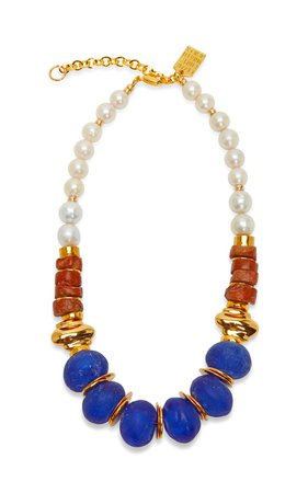 Bombay Gold-Plated Brass And Bead Necklace by Lizzie Fortunato | Moda Operandi