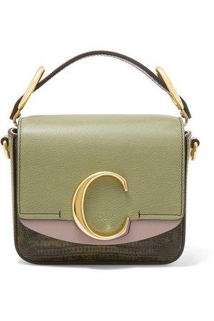 Chloé | Chloé C mini color-block lizard-effect leather shoulder bag | NET-A-PORTER.COM