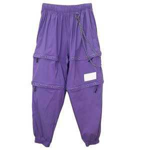 MATTE DOUBLE ZIP JOGGERS w/ CHAIN -PURPLE- - M.Y.O.B NYC ONLINE STORE