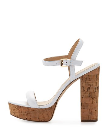 MICHAEL Michael Kors Dallas Cork Platform Sandal, White   Neiman Marcus