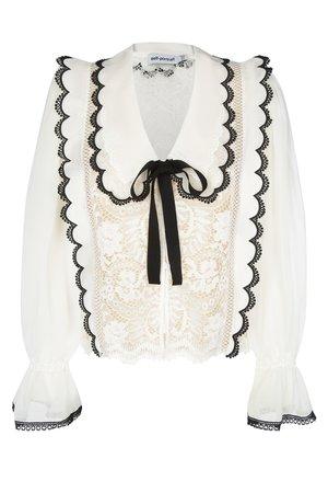 Кружевная блуза Self-Portrait Блузы и рубашки Белый на BABOCHKA.RU