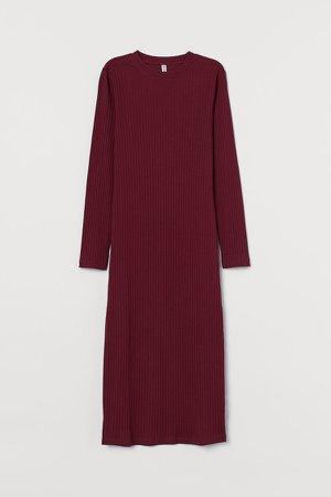 Rib-knit Dress - Red