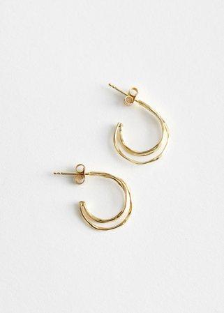 Sterling Silver Twisted Hoop Earrings - Gold - Hoops - & Other Stories