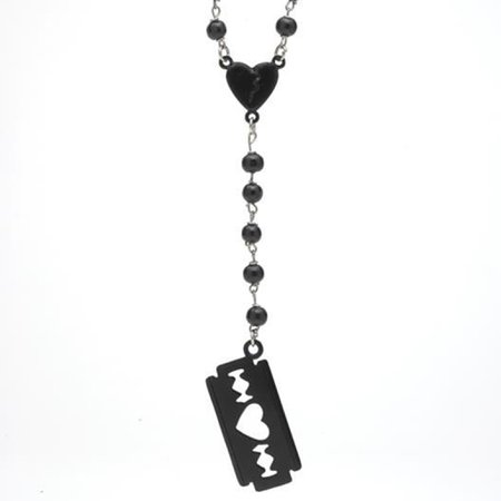 Love Hurts | Rosary Bead Razor Blade Necklace