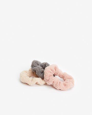 Noir Set Of Three Fuzzy Teddy Ponytail Holders | Express