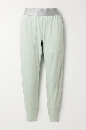 Light green Stretch-jersey track pants | Heroine Sport | NET-A-PORTER