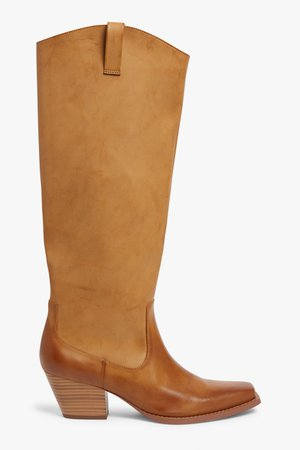 Knee-high cowboy boots - Brown - Boots - Monki