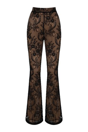 Clothing : Trousers : 'Ivy' Black Lace High Waist Trousers