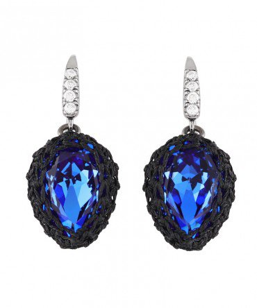 GALA SMALL TURQOISE BLUE CRYSTAL EARRINGS WITH SILVER THREAD - Manipura Designs