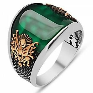 Turkish Ottoman EMERALD Agate Stone 925 K Sterling Silver Mens Ring
