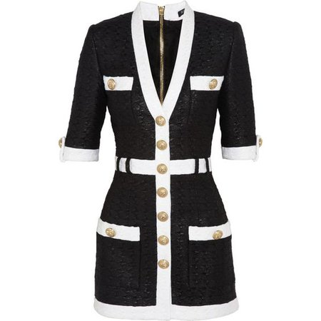 Balmain Coated tweed mini dress