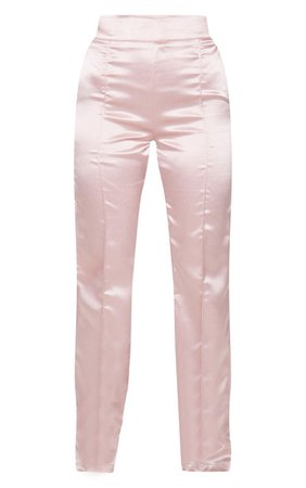 Pink Satin Straight Leg Trousers | Trousers | PrettyLittleThing USA