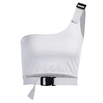 White Crop Top With Black Buckle