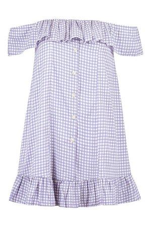 Gingham Off The Shoulder Ruffle Mini Dress | boohoo