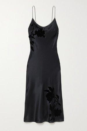 Appliqued Embroidered Silk-satin Midi Dress - Black