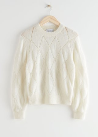 Alpaca Blend Knit Sweater - White - Sweaters - & Other Stories