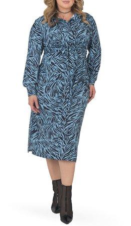 Tie Waist Long Sleeve Midi Dress
