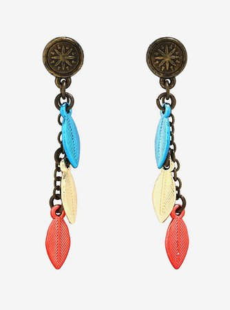 Disney Pocahontas Compass Feather Earrings