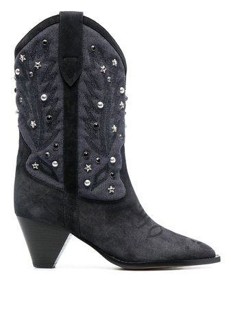 Shop blue Isabel Marant studded suede boots with Express Delivery - Farfetch