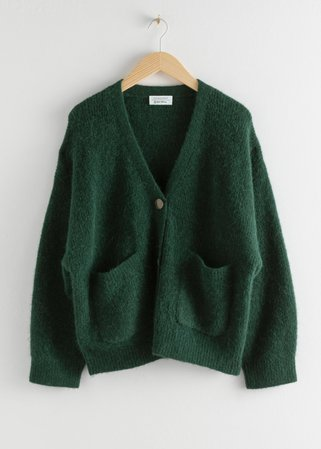 Alpaca Wool Blend Cardigan - Dark Green - Cardigans - & Other Stories