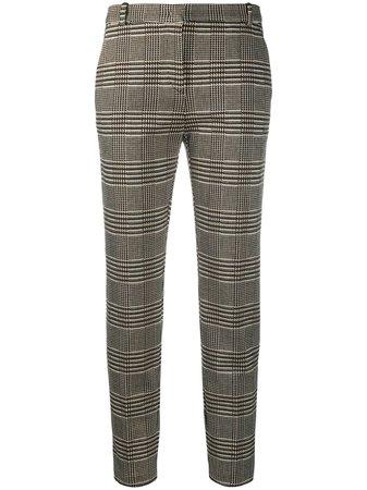 Brown Pinko checked slim straight trousers - Farfetch