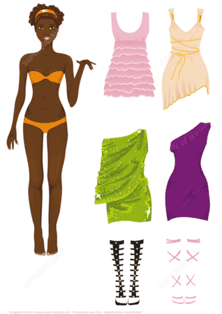 Dress up Paper Doll of African American Woman | Free Printable Papercraft Templates