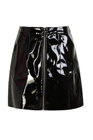 Vinyl Two Tone Zip Woven Mini Skirt | Boohoo