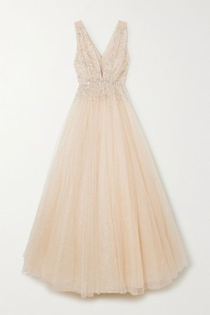 Gold Jeanne embellished glittered tulle gown | Jenny Packham | NET-A-PORTER