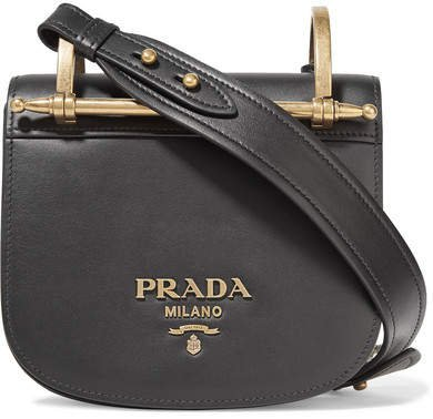 Pionnière Leather Shoulder Bag - Black