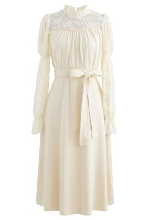 Lace Panelled Belted Knit Dress in Cream - Retro, Indie and Unique Fashion