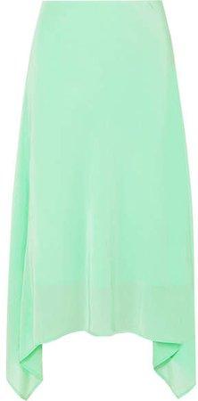 Sies Marjan - Asymmetric Silk Crepe De Chine Midi Skirt - Light green