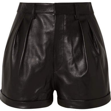 Fabot Pleated Leather Shorts - Black