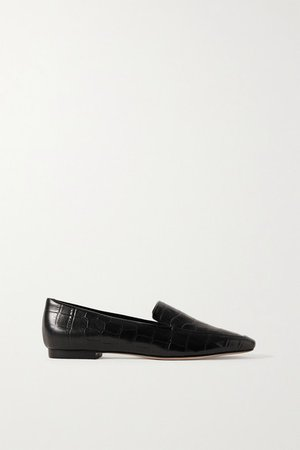 Croc-effect Leather Loafers - Black