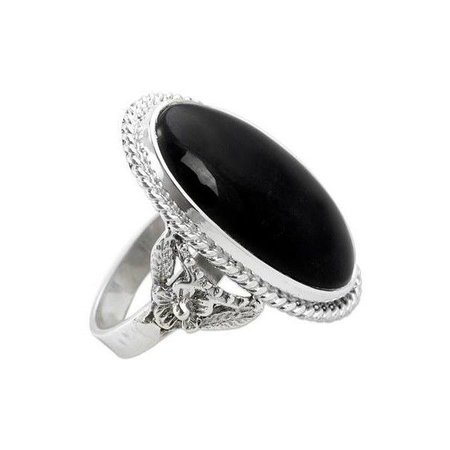 Silver Black Ring