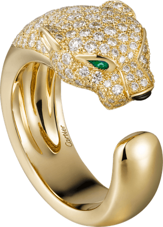 Panthère de Cartier ring Yellow gold, diamonds, emeralds, onyx