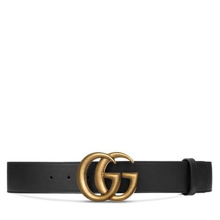 Men's Slim Black Leather Belt With Gold Double G Buckle   GUCCI® US