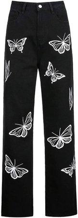 Women Patchwork Pants High Waist Slim Bootcut Denim Jeans Y2k Vintage Pencil Trousers Fashion Streetwear(A Heart c, S) at Amazon Women's Jeans store