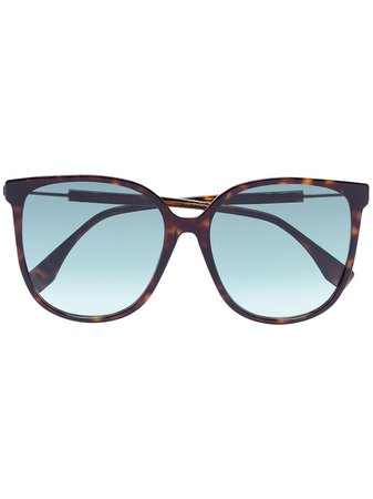 Fendi Eyewear Tortoiseshell Logo Sunglasses - Farfetch