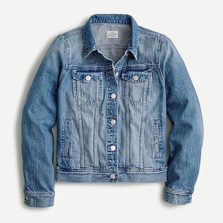 J.Crew: Classic Denim Jacket In Brilliant Day Wash For Women blue