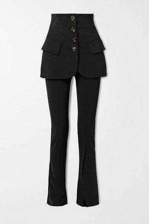 Layered Crepe Flared Pants - Black