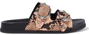 Vachel Buckled Studded Snake-effect Leather Slides